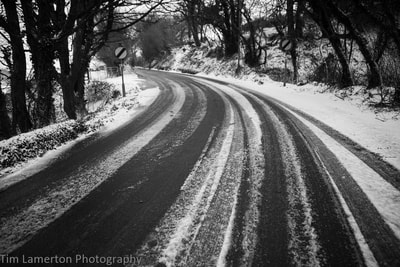 bend in the road, icy road, tyre tracks in the snow, Tim Lamerton Photography, Tim Lamerton